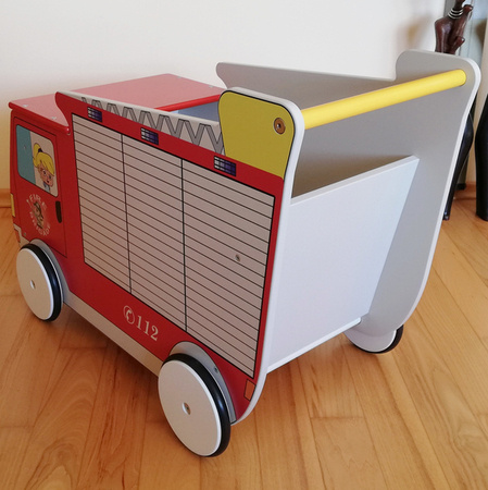 """Toddler walker - toy box with wheels """"Fire Truck"""""""