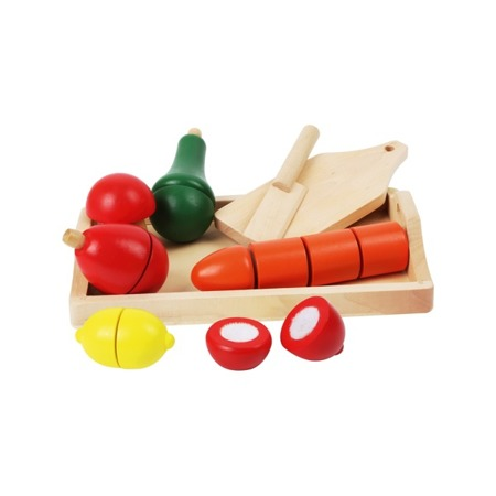 Wooden chopping vegetables
